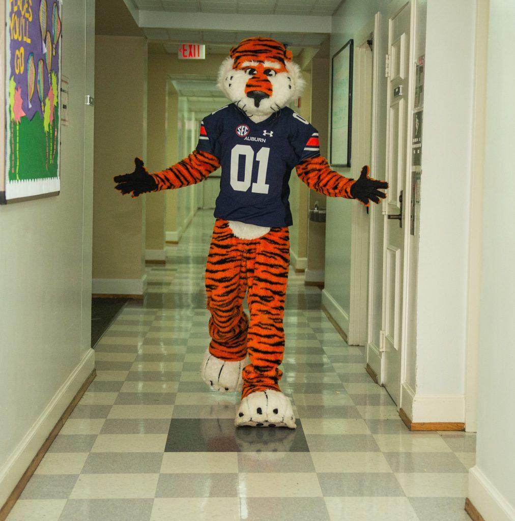 Aubie in hallway