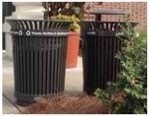 garbage and recycling cans on campus