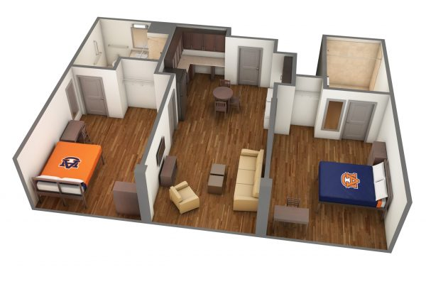 South Donahue Accessible Room 3D Side View