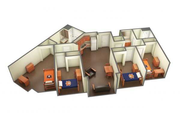 The Village Accessible Room 3D Side View