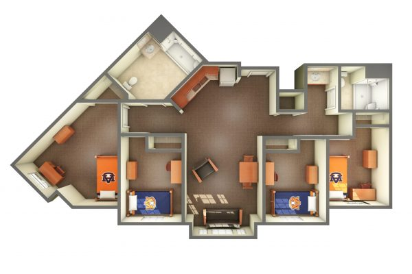 The Village Accessible Room 3D Top View